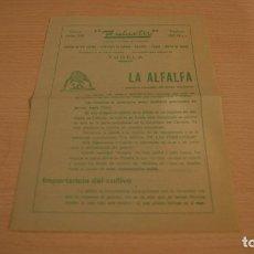 Catálogos publicitarios: ZULUETA TUDELA NAVARRA LA ALFALFA CULTIVO, ABONO, RIEGOS, ETC. AÑO 1965. Lote 110822743