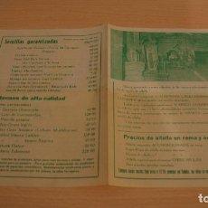 Catálogos publicitarios: ZULUETA TUDELA NAVARRA LA ALFALFA TARIFAS PRECIOS DISTINTAS VARIEDADES AÑO 1965. Lote 110823063