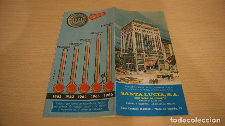 SEGUROS SANTA LUCIA, S.A. TRIPTICO PUBLICITARIO DE LA COMPAÑIA AÑO 1966 (Coleccionismo - Catálogos Publicitarios)