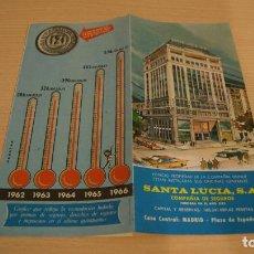 Catálogos publicitarios: SEGUROS SANTA LUCIA, S.A. TRIPTICO PUBLICITARIO DE LA COMPAÑIA AÑO 1966. Lote 110825239