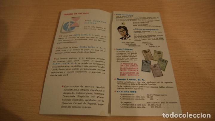 Catálogos publicitarios: Seguros Santa Lucia, S.A. Triptico publicitario de la compañia Año 1966 - Foto 2 - 110825239