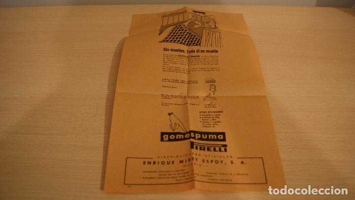 PUBLICIDAD COLCHÓN GOMAESPUMA PIRELLI AÑO 1967 (Coleccionismo - Catálogos Publicitarios)