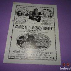 Catalogues publicitaires: ANTIGUO FOLLETO IMPRESO A DOBLE CARA PUBLICIDAD DEL GRUPOS ELECTRÓGENOS AMERICANO KOHLER - AÑO 1920S. Lote 111732775