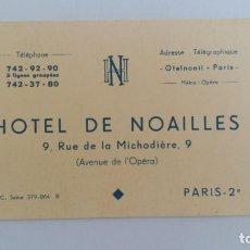 Catálogos publicitarios: TARJETA PUBLICITARIA DEL HOTEL DE NOAILLES. PARIS. Lote 111854727