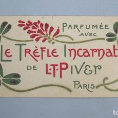 Catalogues publicitaires: TARJETA PUBLICIDAD PERFUME. L. T. PIVER. PARIS. PUBLICIDAD ALMACEN DE BISUTERIA. MADRID. Lote 112529407