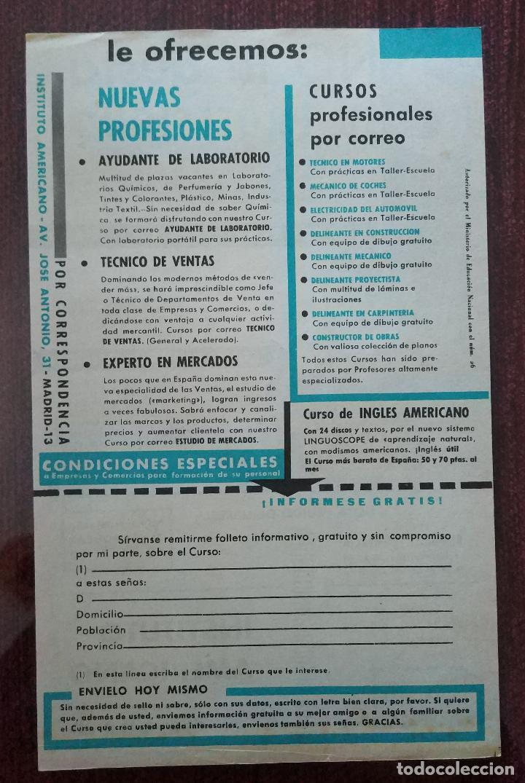 Catálogos publicitarios: PUBLICIDAD ORIGINAL AÑOS 60: CURSOS DE FORMACION A DISTANCIA (INSTITUTO AMERICANO MADRID) - Foto 2 - 112530795