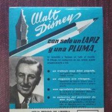 Catálogos publicitarios: PUBLICIDAD ORIGINAL AÑOS 60: CURSOS DE FORMACION A DISTANCIA (CEAC ) - CON FOTOGRAFIA DE WALT DISNEY. Lote 112531019
