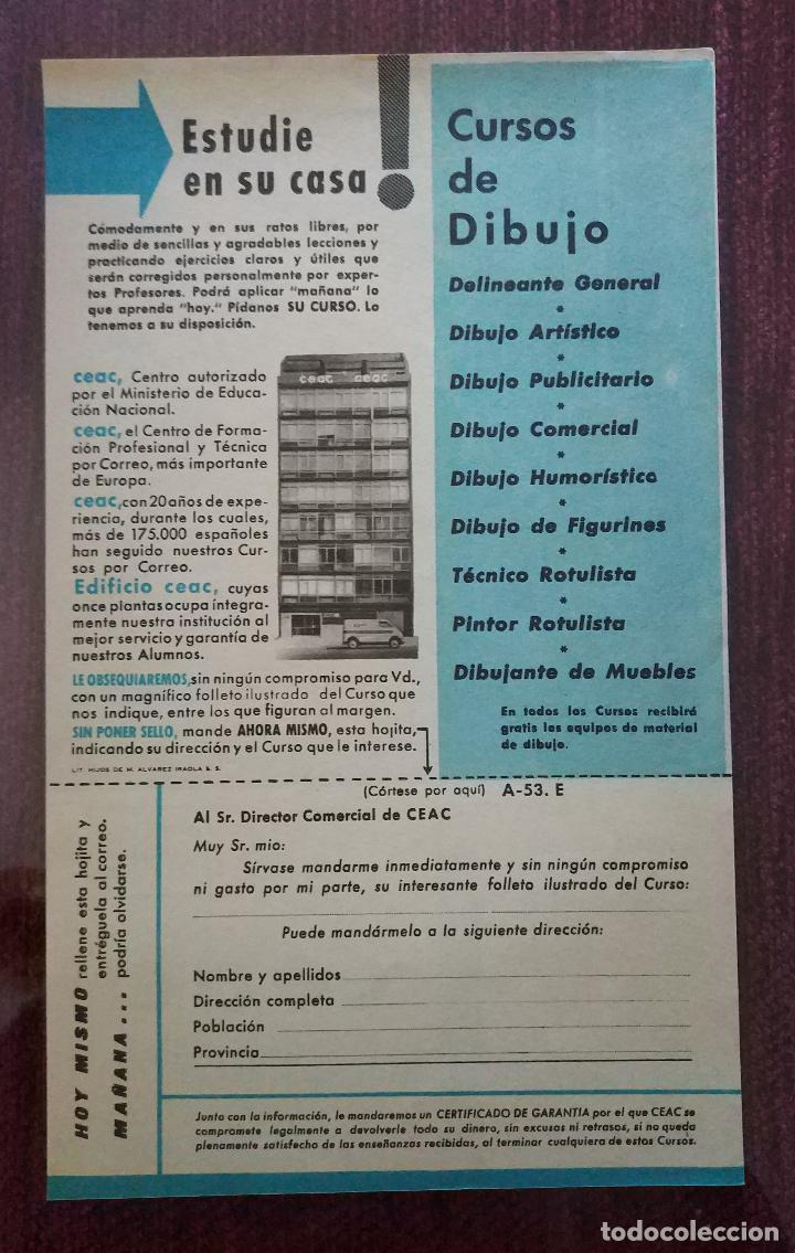 Catálogos publicitarios: PUBLICIDAD ORIGINAL AÑOS 60: CURSOS DE FORMACION A DISTANCIA (CEAC ) - CON FOTOGRAFIA DE WALT DISNEY - Foto 2 - 112531019