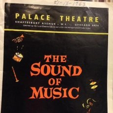Catálogos publicitarios: PROGAMA PALACE THEATRE 1963. THE SOUND OF MUSIC.. Lote 112971591