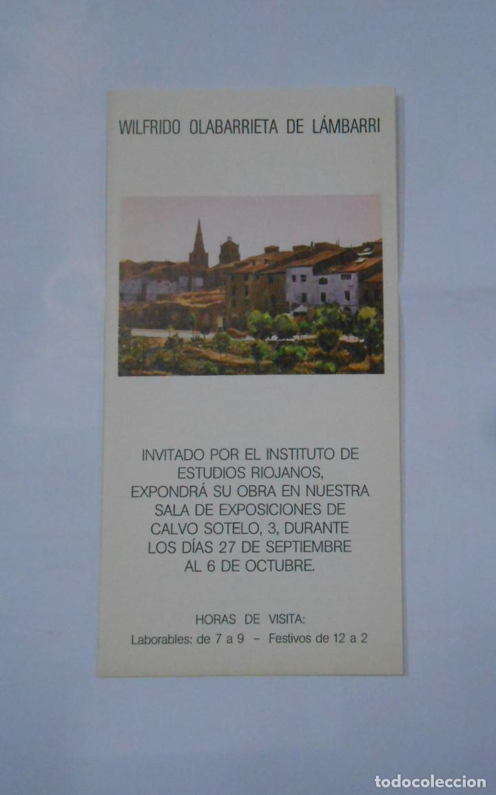 FOLLETO PRESENTACION EXPOSICION WILFRIDO OLABARRIETA DE LAMBARRI. LOGROÑO 1977. TDKP1 (Coleccionismo - Catálogos Publicitarios)