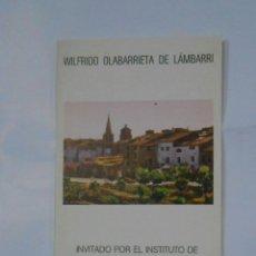 Catálogos publicitarios - FOLLETO PRESENTACION EXPOSICION WILFRIDO OLABARRIETA DE LAMBARRI. LOGROÑO 1977. TDKP1 - 113834399