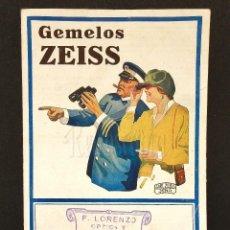 Catálogos publicitarios: CATALOGO PRISMÁTICOS GEMELOS CARL ZEISS JENA AÑOS 20 LENTES ÓPTICA OPTOMETRIA OFTALMOLOGÍA. Lote 114121495