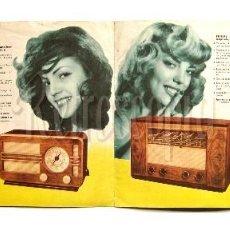 Catálogos publicitarios: CATALOGO DESPLEGABLE RADIO TRANSISTOR TOCADISCOS TELEVISOR PHILIPS 1950 ACTRICES CARMEN SEVILLA. Lote 114121971