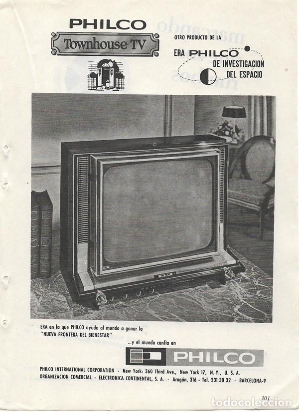 PUBLICIDAD 1964 HOJA REVISTA ANUNCIO TELEVISOR TELEVISIÓN TV PHILCO - PROYECTOR EUMIG MARK S (Coleccionismo - Catálogos Publicitarios)