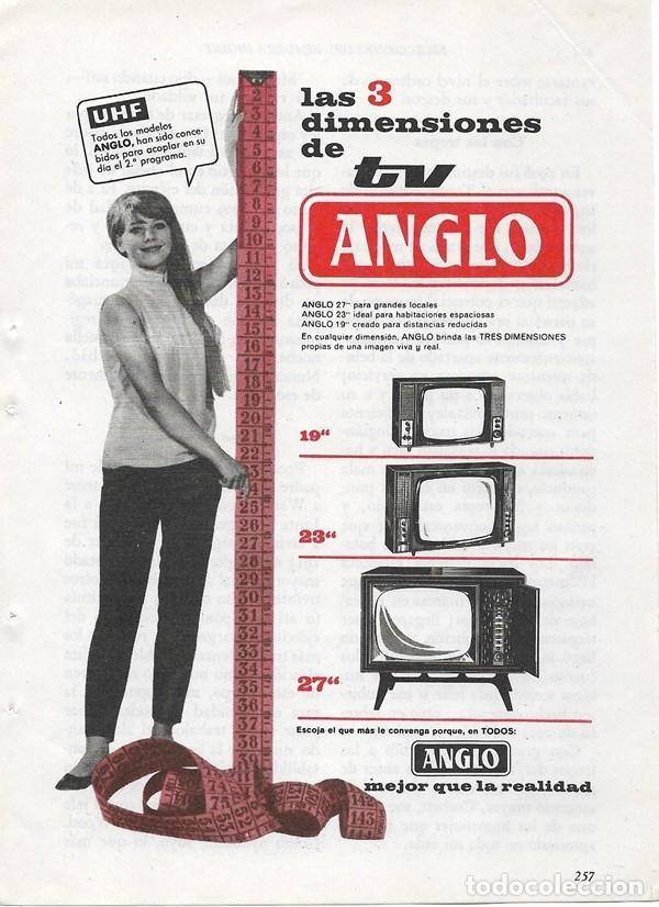 PUBLICIDAD 1964 HOJA REVISTA ANUNCIO TELEVISOR TELEVISIÓN TV ANGLO CON UHF (Coleccionismo - Catálogos Publicitarios)