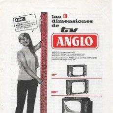 Catálogos publicitarios: PUBLICIDAD 1964 HOJA REVISTA ANUNCIO TELEVISOR TELEVISIÓN TV ANGLO CON UHF. Lote 114641635