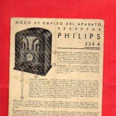Catálogos publicitarios: RADIO PHILIPS 534 A. MODO DE EMPLEO. Lote 114644599