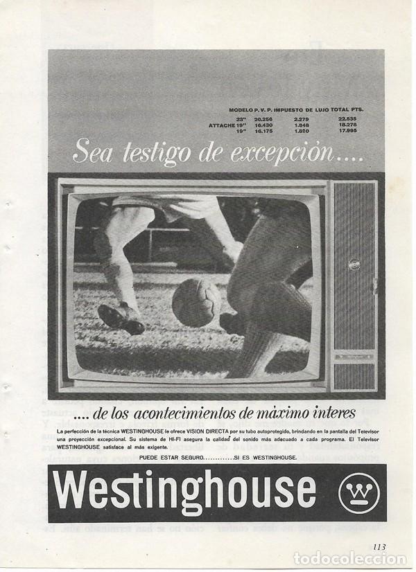 PUBLICIDAD 1964 HOJA REVISTA ANUNCIO TELEVISOR TELEVISION TV WESTINGHOUSE (Coleccionismo - Catálogos Publicitarios)