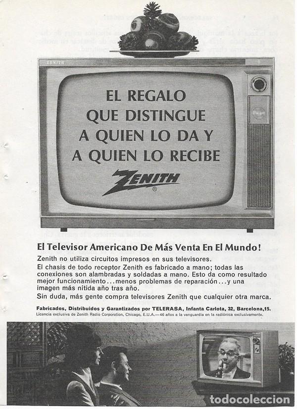 PUBLICIDAD 1964 HOJA REVISTA ANUNCIO TELEVISOR TELEVISIÓN TV ZENITH (Coleccionismo - Catálogos Publicitarios)