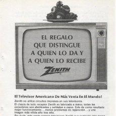 Catálogos publicitarios: PUBLICIDAD 1964 HOJA REVISTA ANUNCIO TELEVISOR TELEVISIÓN TV ZENITH. Lote 114649523
