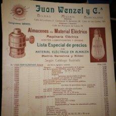 Catálogos publicitarios: MATERIAL ELECTRICO. JUAN WEZEL.. Lote 114711924