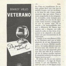 Catálogos publicitarios: PUBLICIDAD 1953 HOJA REVISTA ANUNCIO BRANDY VIEJO VETERANO DE OSBORNE EL PUERTO DE SANTA MARÍA CÁDIZ. Lote 114787795