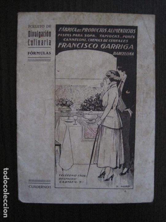 FABRICA PRODUCTOS ALIMENTICIOS -FRANCISCO GARRIGA - BARCELONA - FORMULAS -VER FOTOS-(V-13.772) (Coleccionismo - Catálogos Publicitarios)