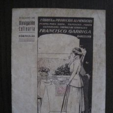 Catálogos publicitarios: FABRICA PRODUCTOS ALIMENTICIOS -FRANCISCO GARRIGA - BARCELONA - FORMULAS -VER FOTOS-(V-13.772). Lote 114832095