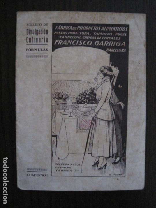 Catálogos publicitarios: FABRICA PRODUCTOS ALIMENTICIOS -FRANCISCO GARRIGA - BARCELONA - FORMULAS -VER FOTOS-(V-13.772) - Foto 2 - 114832095