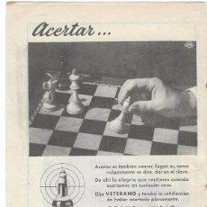 Catálogos publicitarios: PUBLICIDAD 1953 HOJA REVISTA ANUNCIO BRANDY VIEJO VETERANO DE OSBORNE EL PUERTO DE SANTA MARÍA CÁDIZ. Lote 114880911