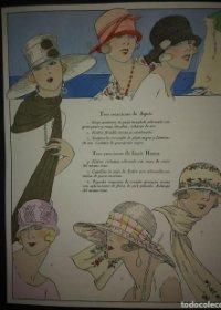 4 láminas Gorros y Sombreros iluminadas a mano