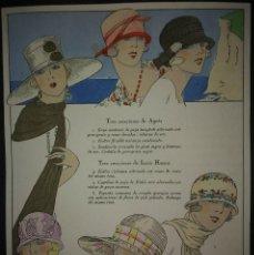 Catálogos publicitários: 4 LÁMINAS GORROS Y SOMBREROS ILUMINADAS A MANO. Lote 114962139