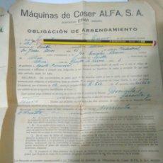 Catálogos publicitarios: OBLIGACION AÑO 1942 DE ARRENDAMIENTO MAQUINAS PAPELES DE COSER ALFA AÑOS 40,EIBAR(GUIPUZCUA). Lote 117073238