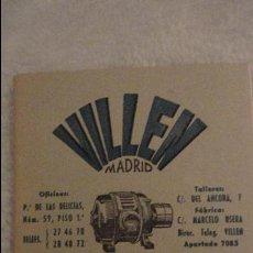 Catálogos publicitarios: LISTADO DE PRECIOS.VILLEN.TALLERES ELECTROMECANICOS.MADRID.1953. Lote 117074347