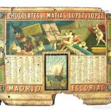 Catálogos publicitarios: CARTEL CALENDARIO PUBLICIDAD CHOCOLATES / CHOCOLATE DE MATIAS LOPEZ Y LOPEZ. MADRID AÑO 1882. Lote 117777703