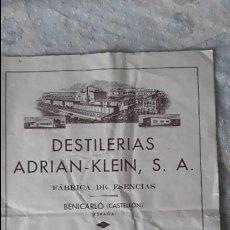 Catálogos publicitarios: DESTILERÍA ADRIÁN KLEIN, S.A FÁBRICA DE ESENCIAS BENICARLO, CASTELLON. Lote 117989843
