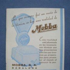 Catálogos publicitarios: BALANZAS MOBBA. BADALONA. TARJETA PUBLICIDAD ORIGINAL. Lote 118009767