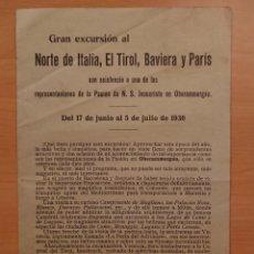 Catálogos publicitarios: VIAJES EXPRINTER, MADRID, EXCURSIÓN ITALIA, EL TIROL, BABIERA Y PARÍS 1930. Lote 118500771