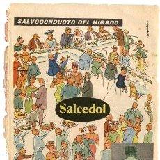 Catalogues publicitaires: PUBLICIDAD FARMACEUTICA: SALES EFERVESCENTES SALCEDOL, SALVOCONDUCTO DEL HIGADO. Lote 39838926
