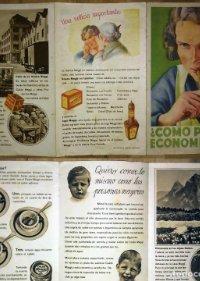 Antigua publicidad tríptico MAGGI Cubitos Maggi, Caldo Maggi, Jugo Maggi, Sopa de guisantes Maggi