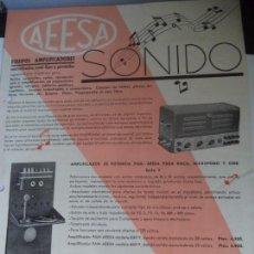 Catálogos publicitarios: CATALOGO AEESA SONIDO APARATOS AMPLIFICADORES. Lote 120134123