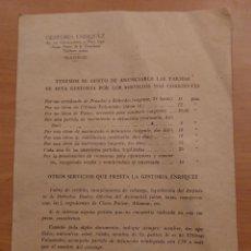 Catálogos publicitarios: GESTORIA ENRIQUEZ, CASTELLANA, MADRID, . Lote 121190447