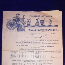 Catálogos publicitarios: ANTIGUO FOLLETO PUBLICITARIO CERAMICA ARTISTICA VDA DE ANTONIO MEZQUITA, ANDUJAR, AÑO 1947. Lote 141446868