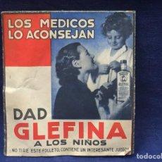 Catálogos publicitarios: LOS MEDICOS LO ACONSEJAN DAD GLEFINA A LOS NIÑOS CONTIENE JUEGO LABORATORIOS ANDROMACO 12,5X11,5CMS. Lote 121279791