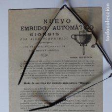 Catálogos publicitarios: PUBLICIDAD EMBUDO AUTOMÁTICO PATENTADO 1899 MARCA GIORGIS INVENTOR GIOVANNI APARATO DECORACION. Lote 121413815