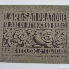 Catálogos publicitarios: CATÁLOGO L'ARTISAN PATRIQUE, 1923, RENÉ LECLERC EDITEURS, PARIS. 32X24CM. Lote 121972191