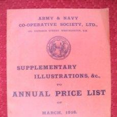Catálogos publicitarios: LISTA DE PRECIO DE LA COOPERATIVA DEL EJERCITO BRITÁNICO DE 1916, LAMPARAS,ALIMENTACIÓN, CRISTAL, CE. Lote 122000571