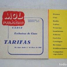 Catálogos publicitarios: MOL PUBLICIDAD, TARIFA DE PRECIOS 1958. Lote 122811307