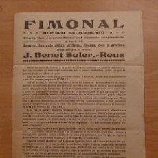 Catálogos publicitarios: FIMONAL, J. BENET SOLER, REUS. Lote 123549839