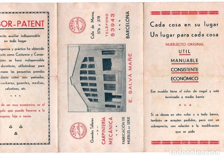 Catálogos publicitarios: TRÍPTICO PUBLICITARIO ANTIGUO E. SALVÁ MAÑÉ CARPINTERÍA MECÁNICA BARCELONA LABOR PATENT MUEBLES VER - Foto 3 - 124030403